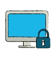drawing computer internet security system vector image vector image