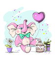 Elephant holding a balloon in the form of heart vector image vector image