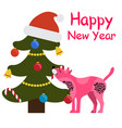 happy new year greeting card cartoon spotted dog vector image vector image