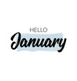 hello january quote welcome january celebration vector image vector image