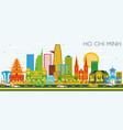 ho chi minh skyline with color buildings and blue vector image vector image