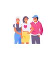 hugging friends teen vector image vector image