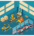 industrial shop floor composition vector image vector image