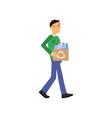 man cartoon character walking and carrying box vector image