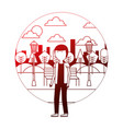 man with glasses standing in park city vector image vector image