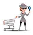 Mystery shopper woman in spy coat with shopping vector image vector image
