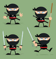ninja warrior character with weapons collection vector image vector image