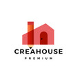 pencil house creative flat logo icon vector image