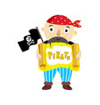 pirate character with scroll icon vector image vector image