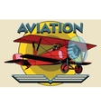 Retro two-winged plane aviation poster vector image vector image