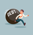 run away businessman debt escape attempt scared vector image