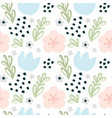 seamless pattern with hand-drawn flowers vector image vector image