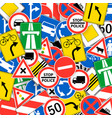 seamless pattern with road signs - funny design of vector image vector image