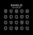 set line icons shield vector image vector image