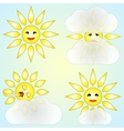 set of four abstract weather icons with sun and vector image vector image
