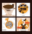 set of steampunk square cards with steam vector image vector image
