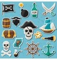 set stickers and objects on pirate theme vector image