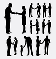 Shake hands male and female silhouettes vector image