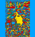 tribal woman portrait with hair - psychedelic vector image vector image