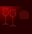 two glass of wine from futuristic polygonal red vector image vector image