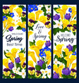 welcome spring greeting banner of blooming flower vector image vector image