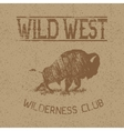 Western vintage label with bison vector image vector image