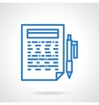 Writing reports blue line icon vector image vector image