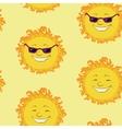 Seamless background smiling cartoon sun vector image