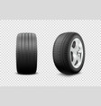 3d realistic render car wheel icon closeup vector image