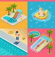 aqua park composition isometric icon set vector image vector image