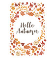 autumn frame with leaves apples and flowers vector image
