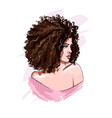 beautiful young woman with curly hair stylish vector image