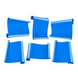 blank scrolls blue paper stickers set vector image