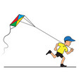 boy with kite flying vector image vector image