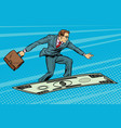businessman on flying money carpet plane vector image vector image