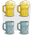 cartoon ribbed colorful beer mugs icon set vector image