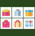 collection gift box presents wrapped packages icon vector image vector image