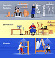 craftspeople 3 flat banners set vector image