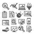 data analysis icons set on white background vector image vector image