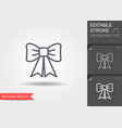 decorative bow line icon with shadow and editable vector image