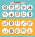 depression symptoms and treatment icons set in vector image vector image