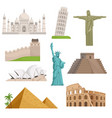 different historical famous landmarks world vector image vector image