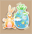 easter background with egg and bunny vector image vector image