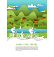family eco travel in paper vector image
