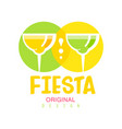 fiesta original logo design green and yellow vector image