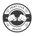 fight club emblem with two fists - boxing club bad vector image vector image