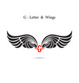 g-letter sign and angel wingsmonogram wing logo vector image vector image