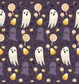halloween seamless pattern on purple background vector image vector image