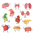 human organs with funny emotions cartoon vector image