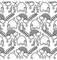 line elephant with leaves and rainbow cloud vector image vector image